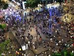 Daily water music show on 'walking street' downtown