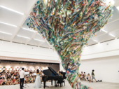 Artworks made from used plastic warn of environmental damage