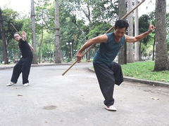 One-legged professional martial artist inspires dozens of students