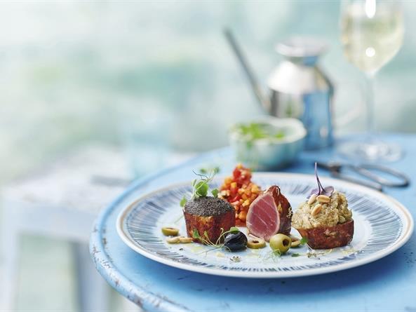 Ahi Tuna with Olive and Eggplant Pesto
