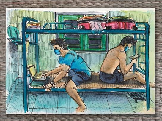 Sketches depict quarantine life vividly